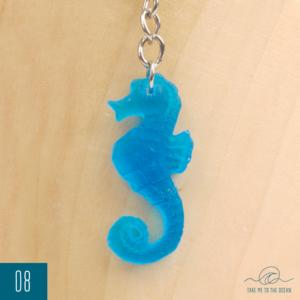 Blue resin seahorse keychain