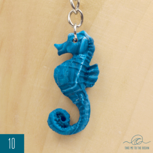 Ocean blue and white resin seahorse keychain