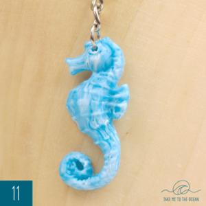 White ocean resin sea horse keychain