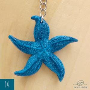 Ocean blue seastar keychain