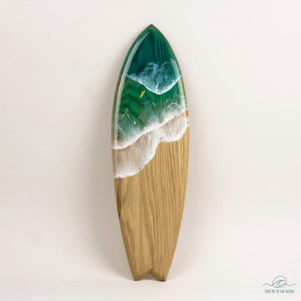 Handmade surfboard oak wood and resin ocean art