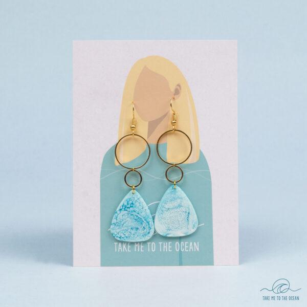 Resin ocean art earrings